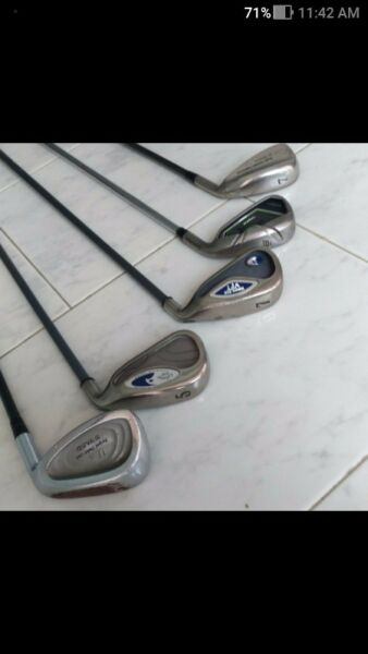 Assorted irons PW, 5 & 7 for sale. Price on enquiry