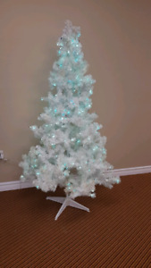 White Christmas tree with lights