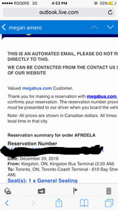 Megabus tickets travelling from Kingston to Toronto December 20