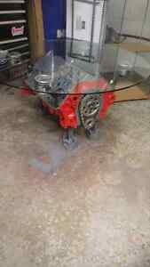 Real SBC motor coffee table. MANCAVE