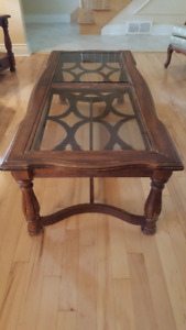 Antique Solid Wood, Glass-Top Coffee Table Set