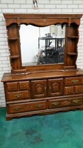 solid pine 63 inch dresser with lighted mirror