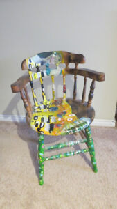 """Unique chair painted as """"The Kiss"""" by Gustav Klimt"""