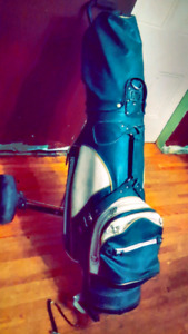 MISC GOLF CLUBS WITH LEATHER BAG AND CART W/ WHEELS