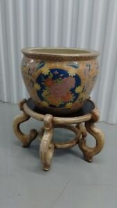 Old Nice Chinese Porcelain Gold Fish Pot (without Wood Stand)