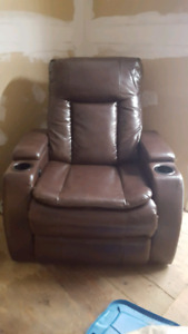 Brown Bonded leather electric recliner