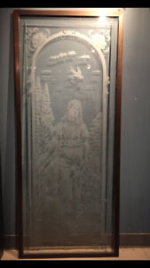 Porte antique en verre  a vendre / Antique glass door for sale