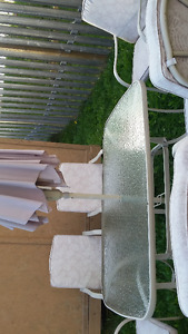 Patio set- 6 chairs,glass table & umbrella w/ stand