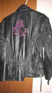 Beautiful leather jacket with rose embroidery London Ontario image 2