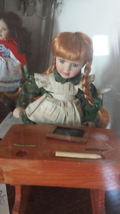 Anne Of Green Gables Porcelain Doll with Desk