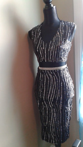 Sequined black and silver set