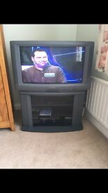 Sharp Tv and Stand with free view box