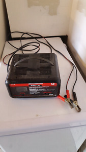 Auto battery charger with engine start