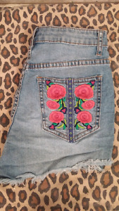 Embroidered High Wasted Jean Shorts