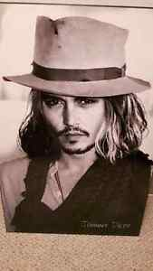 stunning! glass plated/mounted Johnny Depp large photo