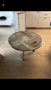 Reclaimed wood coffee table with stainless steel accents