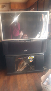 Hitachi 40 inch back projection  tv + stand (nascar)