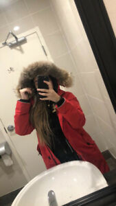 Red Canada goose parka