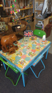 60's/70's Cooey Metal Products Kids Metal Play Table & 4 Chairs