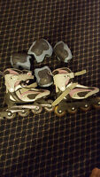 Used roller blades and pads