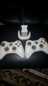 (2) xbox 360 controllers + batteries, charger
