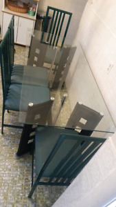 Glass and Faux Leather kitchen Table w/ chairs