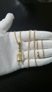 """10K Gold Plug + 10K Gold Rope Chain 2.5mm 26"""""""