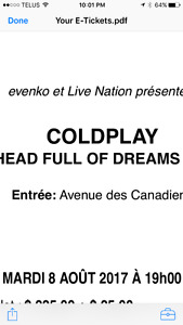 COLDPLAY MONTREAL 8 AOUT