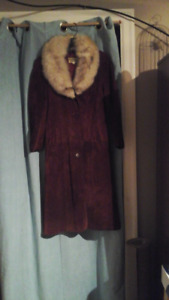 Real fur and red suede jacket