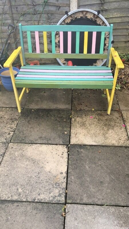 multi coloured wooden bench - Garden Furniture Yate
