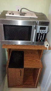 Stainless steel microwave and stand Sarnia Sarnia Area image 1