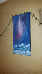 Sombre Northern lights painting