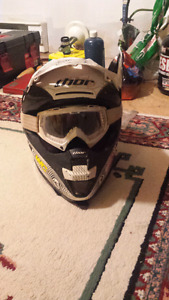 Dirt bike helmet comes with goggles