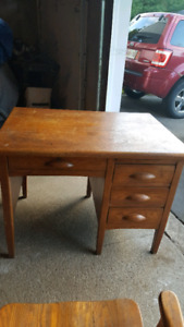 Solid Wood Desk and Matching Chair