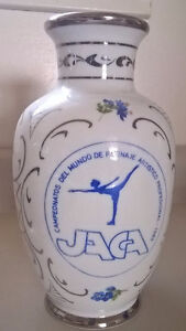 Italian Hand Decorated Vase with Silver Overlay PLATA DE LEY,