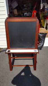 Easel  with chalk board and  White marker board.