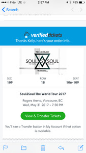 Tim and Faith Soul to Soul tour May 31 4 tickets
