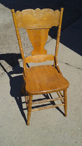 Antique Press Back Solid Wood Chair (six available)