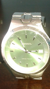 GREEN FACE FOSSIL WATCH