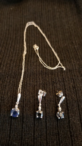 Sapphire Diamond Necklace & Earrings Set