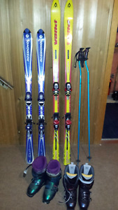Downhill skis boots and poles