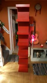 Red Wooden Book/DVD Shelf - 5 Tier