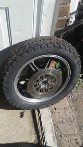 Cool vintage motorcycle rear wheel and tire