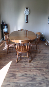 Solid oak wook table set for sale