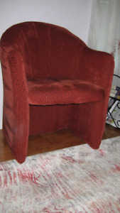 Tube Chair - Burgundy/Ruby Color - Chanelle Fabric