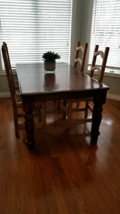 **Mexican Pine Dining Chairs & Dark Wood Table**