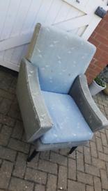 Retro Mid Century grey blue armchair Dansette legs reupholstery projec