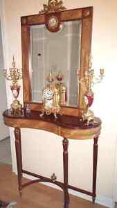 Gorgeous european console and solid brass mirror
