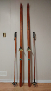 Vintage Norwegian Cross Country Skis and Poles
