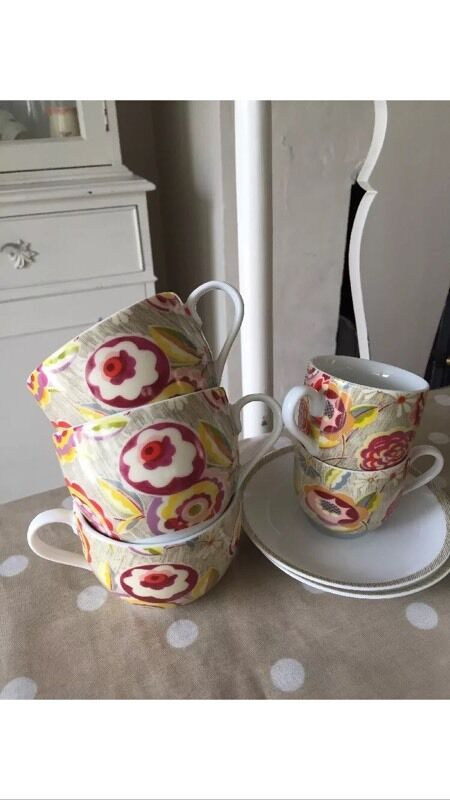 House Of Fraser Tea Set Afternoon Vintage Pattern Cups And Saucers Collier